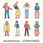 various symptoms of cold... | Shutterstock .eps vector #1534414832