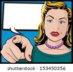 vintage pop art woman with... | Shutterstock . vector #153450356