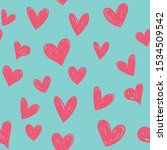 Hearts Seamless Pattern. Hand...