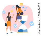employee sitting on sandglass... | Shutterstock .eps vector #1534674092