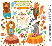 vector set of cute woodland and ... | Shutterstock .eps vector #153471542