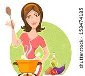 attractive woman is cooking | Shutterstock .eps vector #153474185