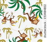 Seamless Pattern With Monkey...