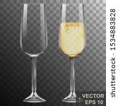 realistic glass of champagne.... | Shutterstock .eps vector #1534883828