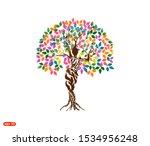 Vibrant Woman Tree Logo Vector...