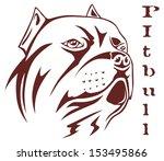 illustration pitbull head   Shutterstock .eps vector #153495866