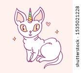 cute cartoon character cat... | Shutterstock .eps vector #1535021228