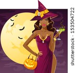 cute sexy witch on a party | Shutterstock .eps vector #153504722