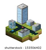 isometric buildings on a city... | Shutterstock .eps vector #153506402