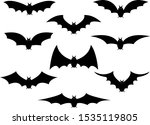 bats icon set. bat black... | Shutterstock .eps vector #1535119805
