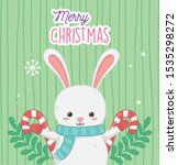 cute rabbit with candy canes... | Shutterstock .eps vector #1535298272