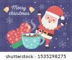 celebrating santa mittens and... | Shutterstock .eps vector #1535298275