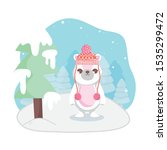 cute polar bear with hat snow... | Shutterstock .eps vector #1535299472