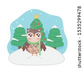 cute owl with scarf lights... | Shutterstock .eps vector #1535299478