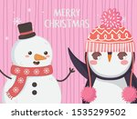 cute penguin and snowman with... | Shutterstock .eps vector #1535299502
