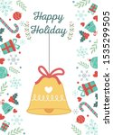 hanging bell with ribbon gifts... | Shutterstock .eps vector #1535299505