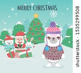 cute santa polar bears trees... | Shutterstock .eps vector #1535299508