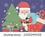 santa with bag tree gifts and... | Shutterstock .eps vector #1535299535