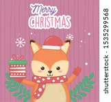 cute fox with gift and scarf... | Shutterstock .eps vector #1535299568