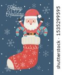 santa in sock with candy canes... | Shutterstock .eps vector #1535299595