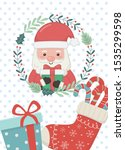 santa wreath sock with candy... | Shutterstock .eps vector #1535299598