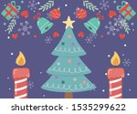decorated tree star candles... | Shutterstock .eps vector #1535299622