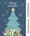 decorated tree and gift boxes... | Shutterstock .eps vector #1535299625