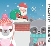 cute santa in chimney raccoon... | Shutterstock .eps vector #1535299628