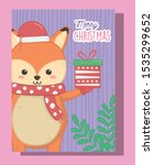 cute fox with gift and scarf... | Shutterstock .eps vector #1535299652