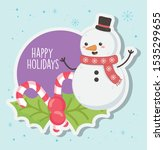 cute snowman with scarf and... | Shutterstock .eps vector #1535299655