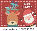 gifts in head deer and santa... | Shutterstock .eps vector #1535299658