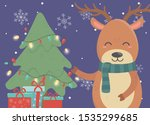 reindeer tree with lights and... | Shutterstock .eps vector #1535299685