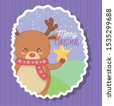 cute bear holding star merry... | Shutterstock .eps vector #1535299688