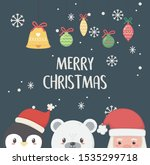 santa penguin and polar bear... | Shutterstock .eps vector #1535299718