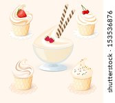 set of cake with fruit   eps10 | Shutterstock .eps vector #153536876