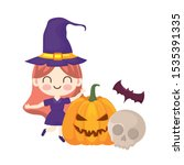 girl disguised as a witch with... | Shutterstock .eps vector #1535391335