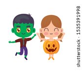 cute children disguised on... | Shutterstock .eps vector #1535391998