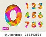 3d joyful set of cut paper... | Shutterstock .eps vector #153543596