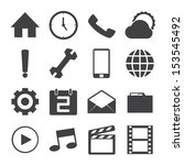 black and white mobile icons... | Shutterstock .eps vector #153545492