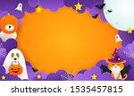 Stock vector happy halloween background vector illustration cute pet in halloween costume 1535457815