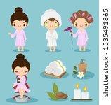 cute girl cartoon doing spa...   Shutterstock .eps vector #1535491865