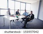 group of happy young  business... | Shutterstock . vector #153557042