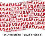 Waving red flag collage. Vector USAF text elements are organized into conceptual red waving flag abstraction. Patriotic collage combined of flat USAF text design elements.