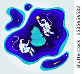 astronauts decorate a christmas ... | Shutterstock .eps vector #1535656532