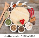colorful herbs and spices... | Shutterstock . vector #153568886