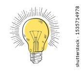vintage light bulb in engraving ... | Shutterstock .eps vector #1535714978