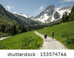 Hikers In The Alps  France ...