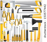 Hand Tools Kit. Set Include Fastening, Finishing, Layout, Striking ,Cutting Tools and Measuring Tools.