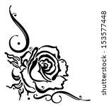 black roses  floral ornament | Shutterstock .eps vector #153577448