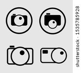 set camera icon in trendy flat...